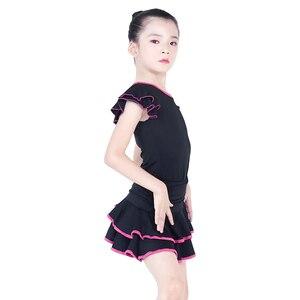 Image 4 - Children Latin Dance Dress V neck Short Sleeve Suit Dance Practice Clothes Girls Latin Dance Skirt