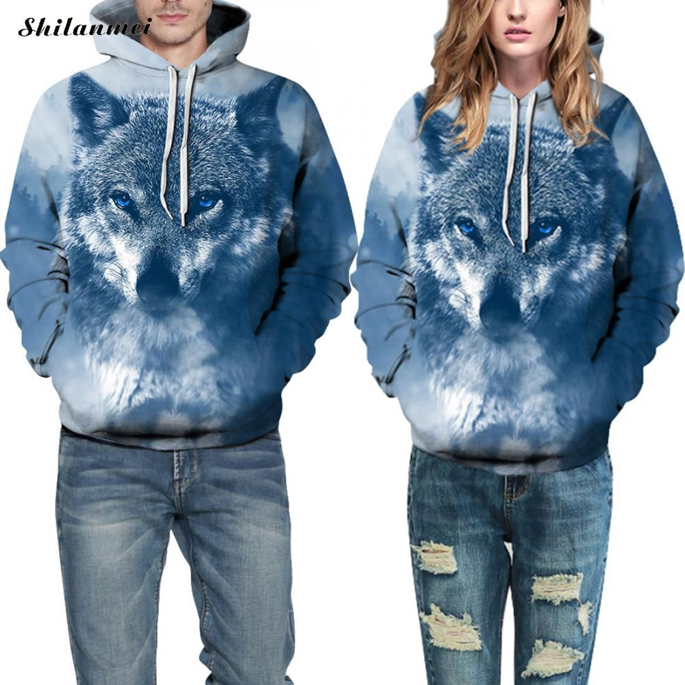 New Fashion Men/Women 3d Sweatshirts Print Wolf Hoodies Autumn Winter Thin Hooded Pullovers Tops Couple Clothing Sudadera Hombre