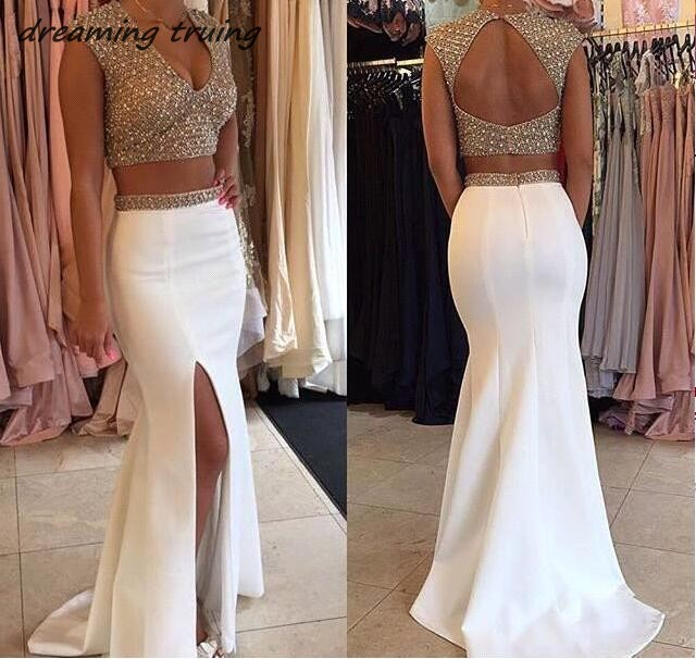 Dreaming Truing Gold Beaded Sequined 2/Two Pieces White   Prom     Dresses   Long Women Evening Party Gowns With Side Split Robe De Bal