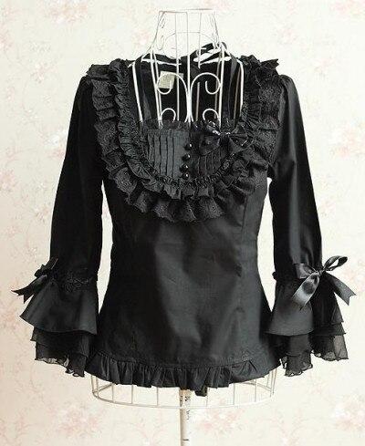 Можно подгонять мода черный хлопок новинка три четверти Викторианский топ с оборками рубашка блузка