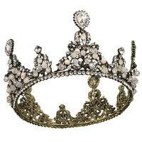 LEEFT Luxury Vintage Crystal Wedding Crown Alloy Bridal Tiara Baroque Queen King Crown Gold Color Rhinestone