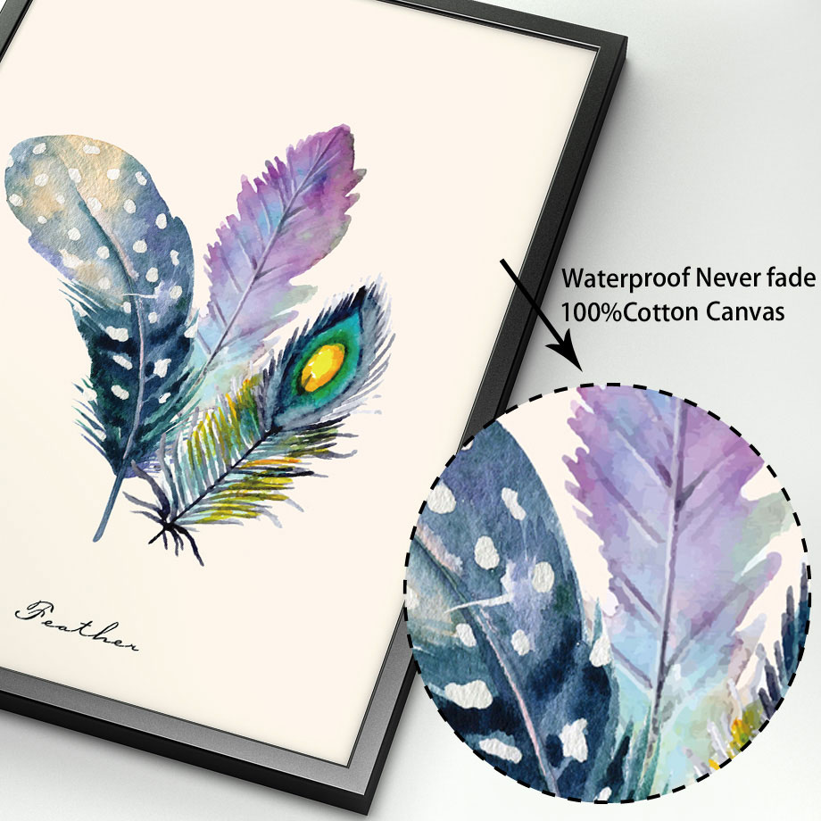 Colorful Feather Moose Deer Bird Leaf Love Wall Art Canvas Painting Nordic Posters And Prints Wall Picture For Living Room Decor in Painting Calligraphy from Home Garden