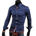 Transporte barato hot new fashion business casual slim fit comprimento-camisas de manga comprida camisas de vestido dos homens de lazer marca 5 cores 5 tamanhos