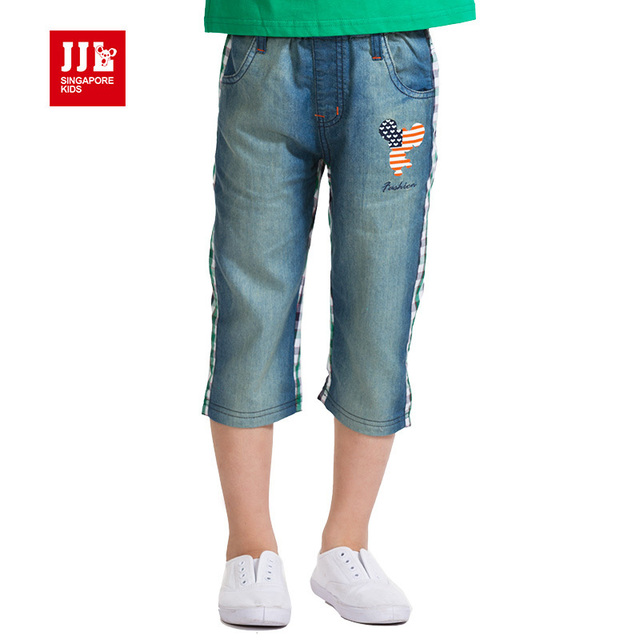 boys denim shorts kids croppeds boys capris designed pants jeans for boys  summer boys clothing check back fashion-in Jeans from Mother & Kids