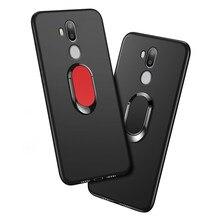 C12 Pro Tampa Do Telefone para Oukitel C12 Pro Caso de luxo 6.18 polegada Preto Macio de Metal Anel de Dedo de plástico Caso para oukitel C12 Funda