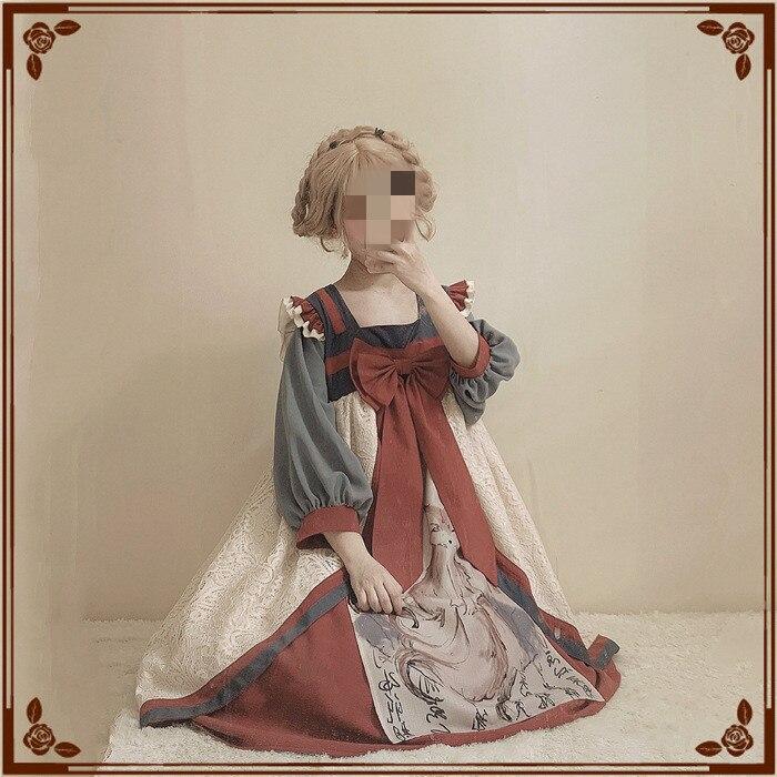 Stile cinese Dell'annata del Vestito Retro Dinastia Han Allentato Casual Donne Lolita Vestito OP Con Dolce Fiocco Rosso di Grandi Dimensioni Vestidos gonne-in Abiti da Abbigliamento da donna su  Gruppo 1