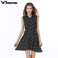 Witsources women summer dresses 2017 new cute cat print A line blouses style casual chiffon dress SD3720