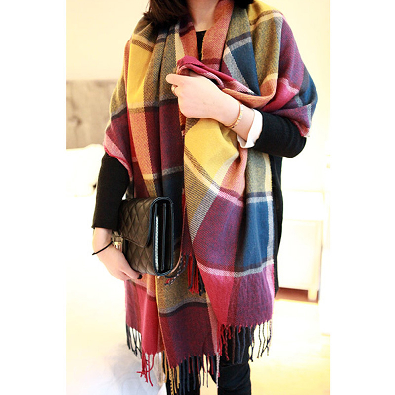 Elegant font b Tartan b font Check Shawl Cashmere Soft Scarf Warm Stole for Women Fashion
