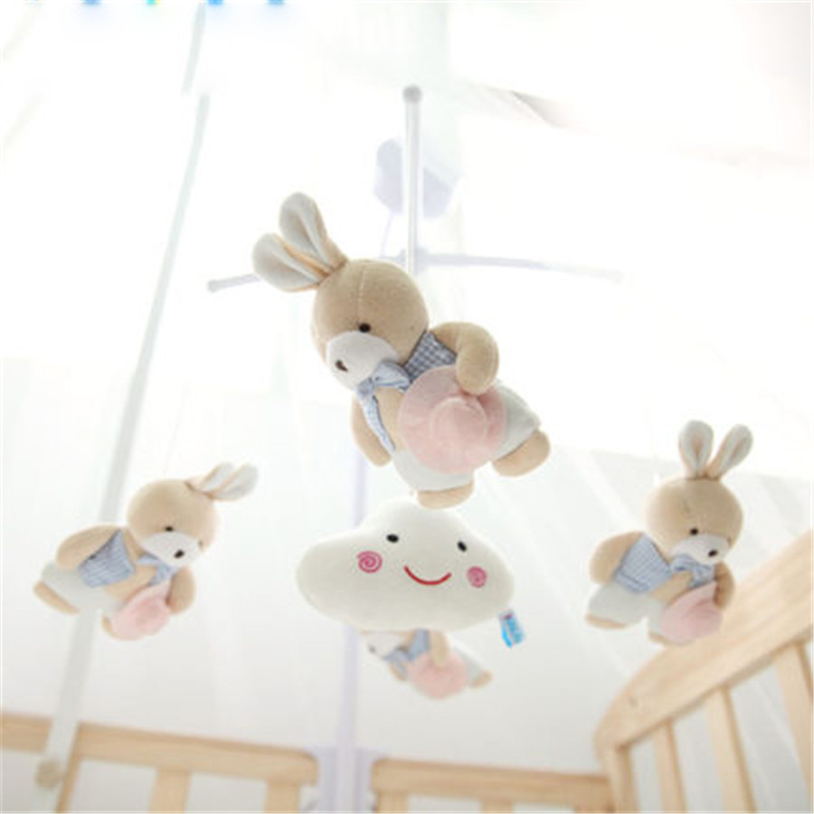 ФОТО Baby Bed Bell Infant Toys With Music Plastic Rattle 0-12 Months Stuffed Rabbit Toys For Babies In a Crib Musical Soft 405078