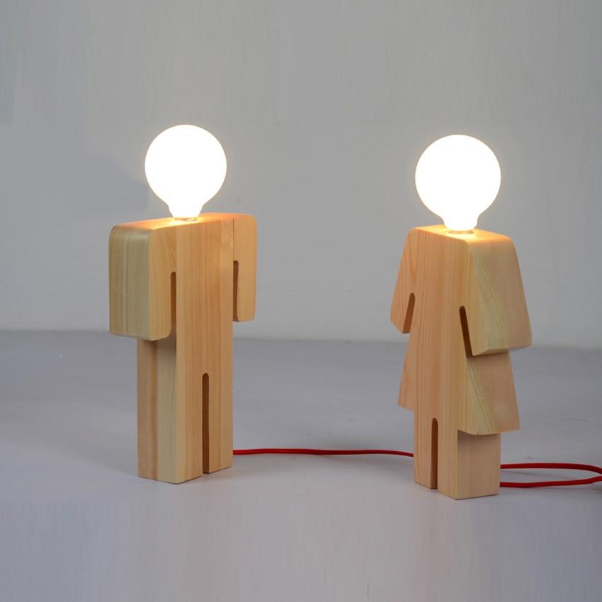 Modern Design Boy Desk Light Wood Base 110v 220v Table Lamp For Living Room Bedroom Home Decoration