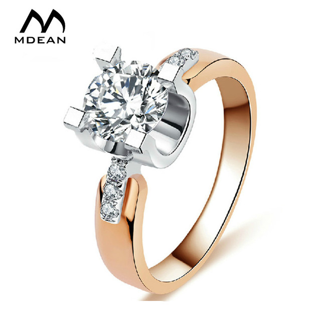 Mdean Rose Gold Color Wedding Rings For Women Engagement Aaa Zircon Jewelry Vintage Accessories