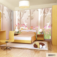 Custom Print Fabric Textile Wallcoverings For Walls Cloth Matt Silk For Kids Child Room Flowers Forest