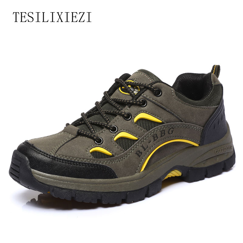 2017 New Men Breathable Hiking Boots Genuine Leather Outdoor Hiking Shoes Waterproof Sport Sneakers zapatillas trekking hombre yin qi shi man winter outdoor shoes hiking camping trip high top hiking boots cow leather durable female plush warm outdoor boot