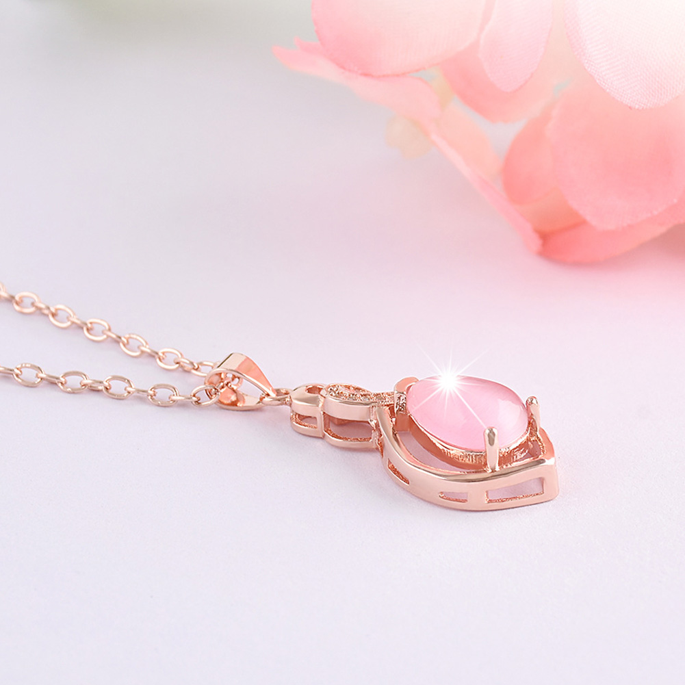Natural Pink Crystal Rose Gold Color Necklace Pink Cat-Eye Stone Pendant Fashion Birthday Gift Christmas
