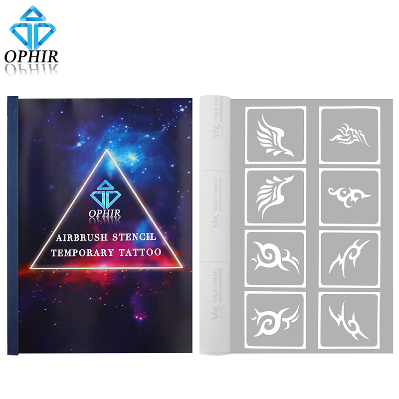 OPHIR 281PCS Pattern Airbrush Stencils Set A4 Booklet for Temporary Tattoo Airbrush Kit Body Art Tattoo Accesory _TA109