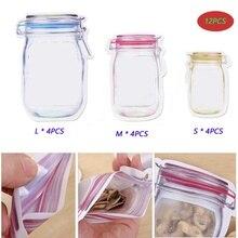 12PCS Mason Jar Pattern Food Saver Storage Bags Set Reusable Portable Kitchen Organizer Snacks Fresh Zipper Airtight Seal Bags