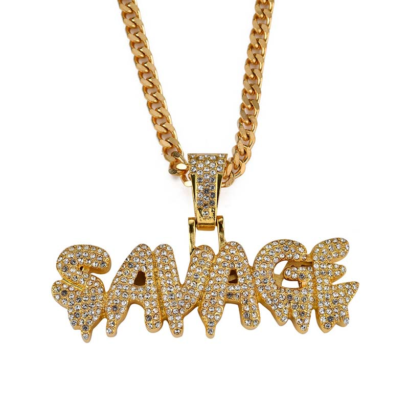Bling Iced out letter SAVAGE Pendant Necklace Gold Color 316L Stainless Steel Necklaces & Pendants for Men Jewelry