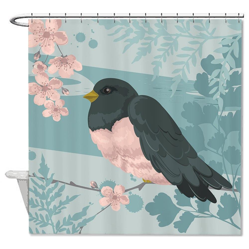 Waterproof Anti-bacterial Vintage Cute Bird Bathroom Shower Curtain,Anti-mildew Resistant Fabric Shower Curtain For Bathroom