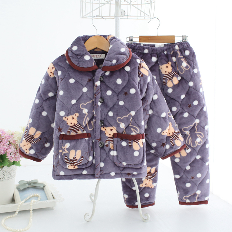 88af1cc7bb Kids clothes Winter Pajama sets Thicken Pijama set Baby boy Pajamas  Printing Children quilt flannel sleepwear