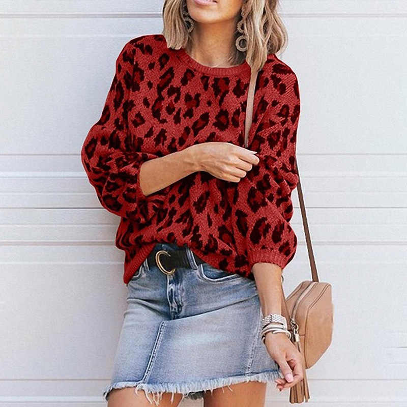 HEE GRAND Fashion Leopard Sweaters Autumn 2019 Casual Loose Pullovers O-neck Knitted Outwears Red Knitwear Drop Shipping WZM1489
