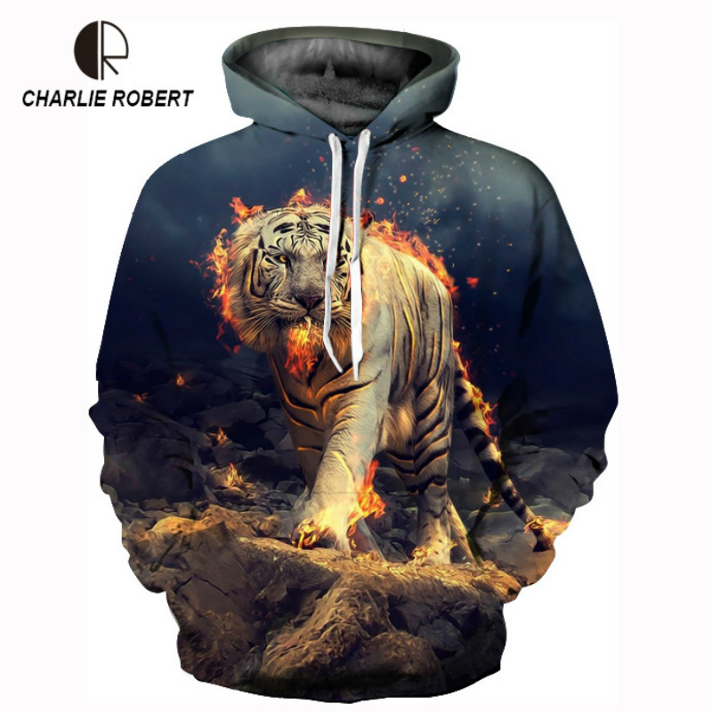 Lovers Print Long-Sleeved Tide Brand Burning Tiger Digital Printing Clothes Round Collar Large Size Loose Hooded Clothes Men