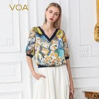 VOA шелк Футболка Для женщин Бохо Лето Повседневное Половина рукавом печати B700