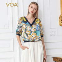 VOA Silk T Shirt Women Boho Summer Casual Half Sleeve Print B700