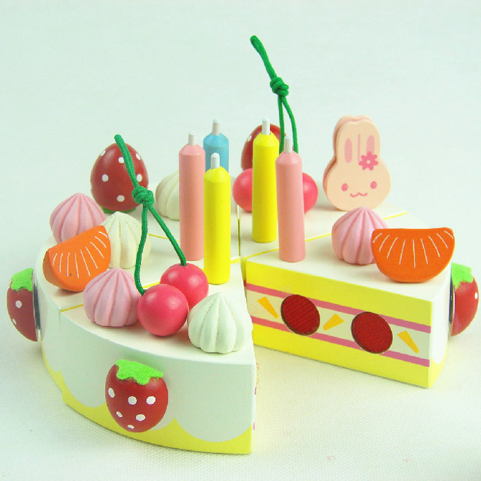 Baby Educational Toys Child Strawbberry Simulation Cream Birthday Cake Wooden Pretend Play Kitchen Infant Gift In From Hobbies