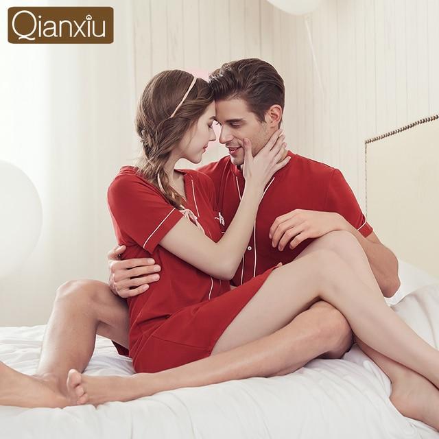 Qianxiu High-grade Quality Women Button Sleep Shirt Women Casual Short Sleeve Couple Red Blue Lounge Sleepwear 1635