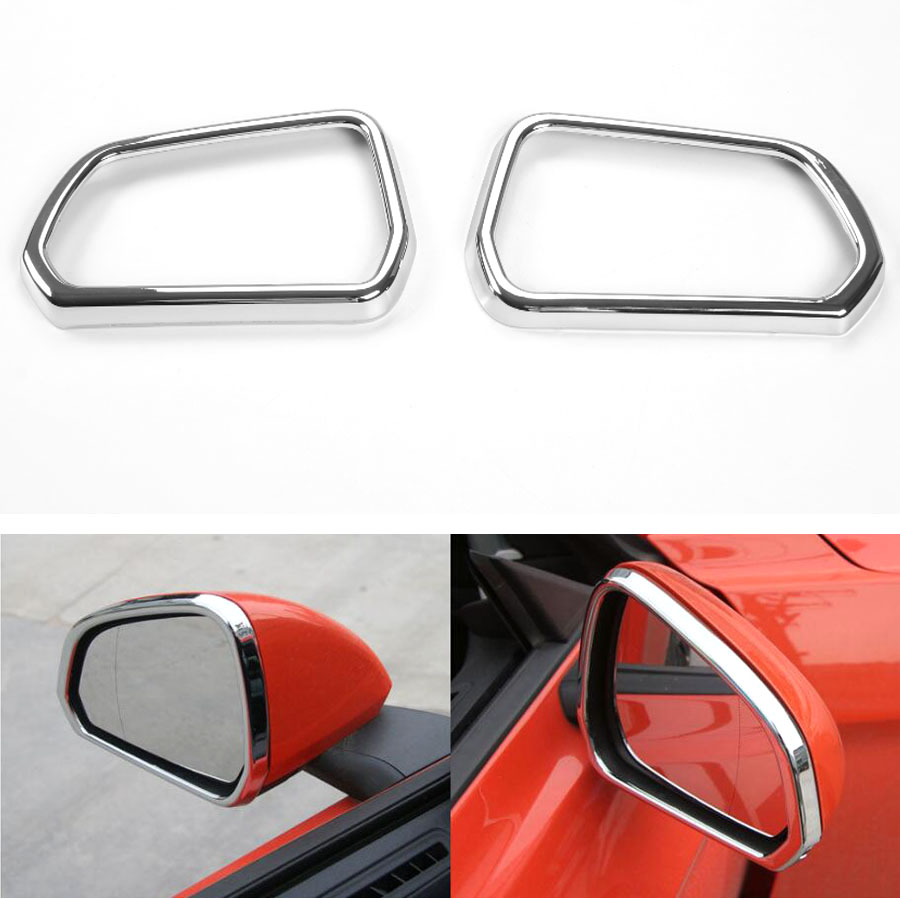 For Ford Mustang 2015 2016 2017 2pcs Car Exterior Rearview Miror Frame Bezel Styling Mouldings Decals