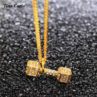 Stainless Steel Iced Out CZ Gold Dumbbell Barbell Charm Necklace For Sport Lovers Men Bodybuilding Jewelry