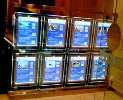 Śledzenie magiczne światło lustrzane pudełko Led dwustronna akrylowa ramka a4  wyświetlacz reklamowy Led antyramy