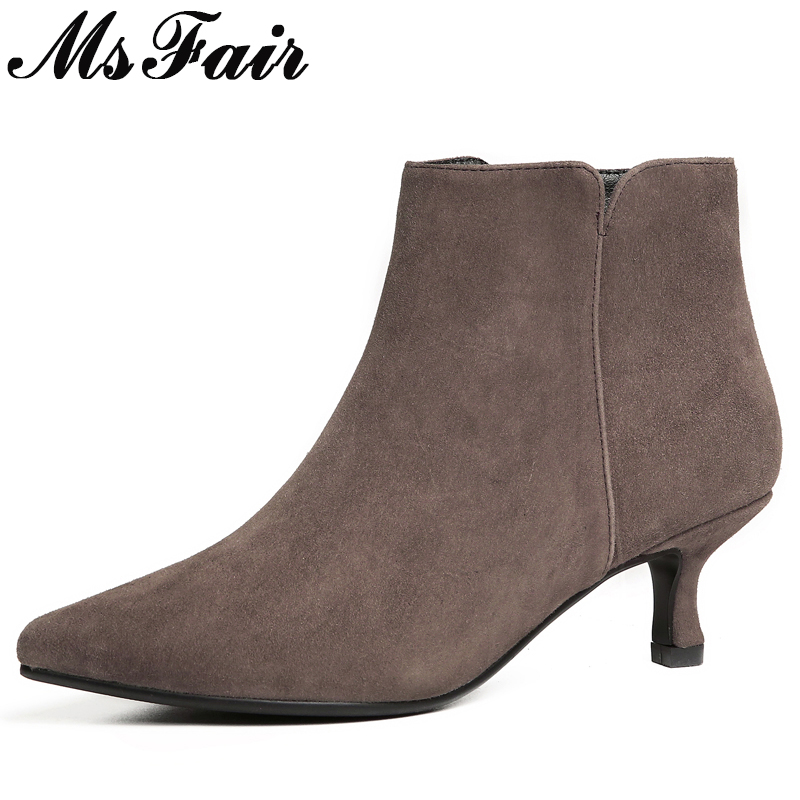 MSFAIR Women Pointed Toe Med heel Boots Casual Fashion Zipper Ankle Boots Women Shoes Concise Thin Heels Ankle Boots Shoes Woman