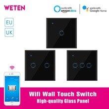 Умный Wi-Fi настенный сенсорный переключатель 1 2 3 банда стекло настенный светильник переключатель EU/UK стандартный черный Ewelink Приложение Поддержка Alexa Google Home