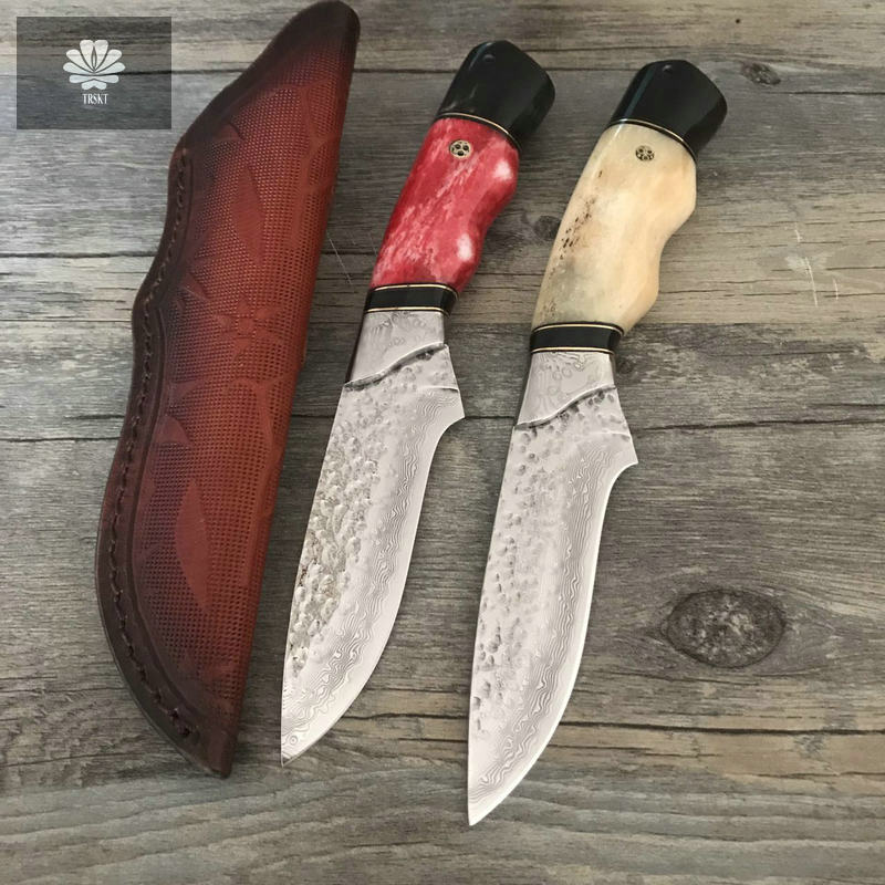TRSKT Hunting knife Damascus Collection Knives Camping tool Ox bone + Damasus Handle Outdoor Rescue ,Fruit knives with Sheath trskt damascus blade collection knife wood handle folding knife camping hunting knives rescue outdoor edc tool dropshipping