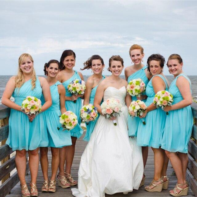 Summer Teal one shoulder short chiffon Bridesmaid Dresses Knee-Length prom dresses  vestidos para casamento convidada BMD190 ffdebd18e876