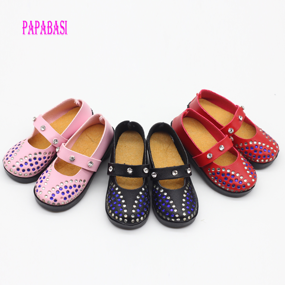 7.8cm PU Leather Diamond Mini Shoes Fit 60cm 1/3 Dolls Shoes For BJD SD Doll Shoes Free Shipping