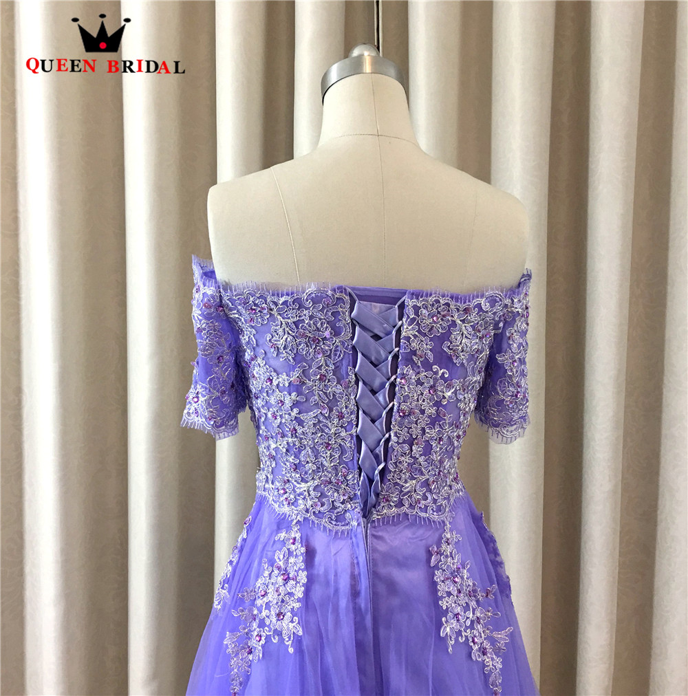 Ameision Elegant Evening Dresses Pueple Short Sleeve Lace Beading Short Party Prom Dress Evening Gowns 2019 Vestido De Festa in Evening Dresses from Weddings Events
