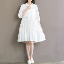 Summer Dress 2016 Women Casual Mori Girl Peter Pan Collar White Embrodiery Cotton and Linen 3