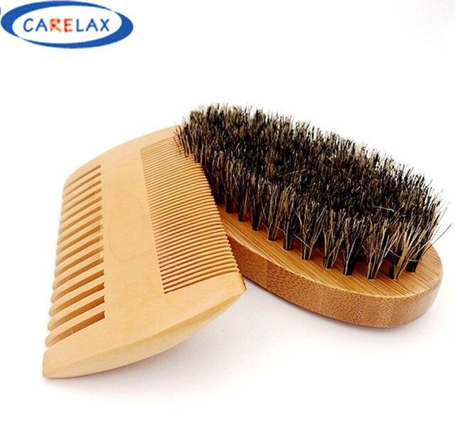 Гребень бритья набор кистей бамбуковой Усы бороды очистки Для мужчин кисточку для бритья массаж лица подарок для Для мужчин