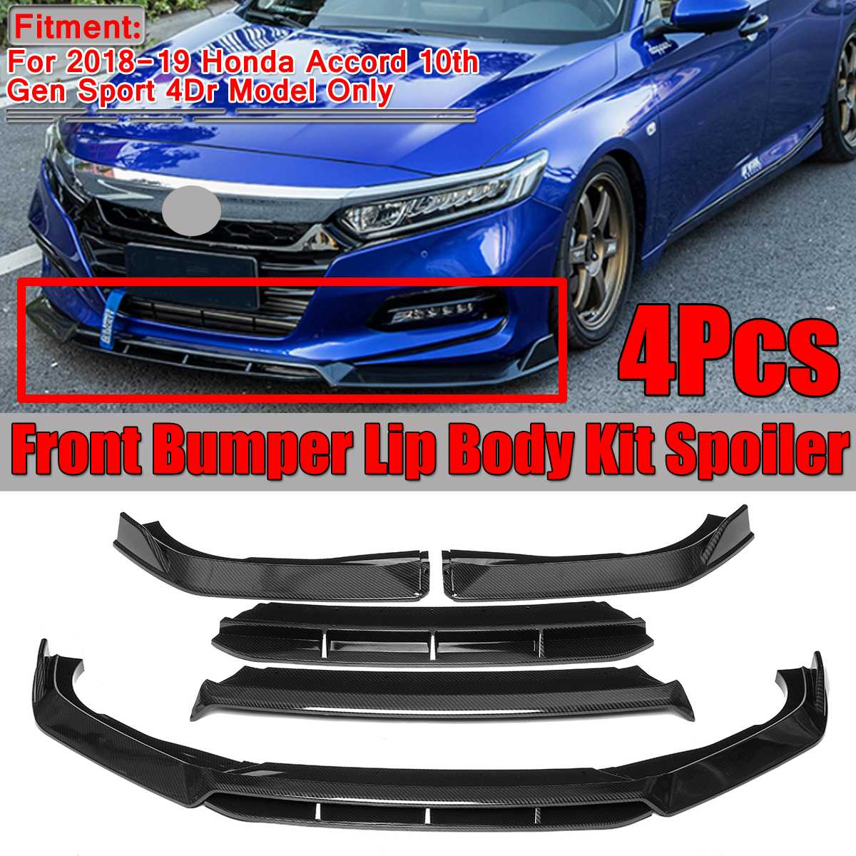 EZAUTOWRAP Universal Carbon Fiber Red PU Rubber Front Bumper Lip Splitter Spoiler Chin Body Air Wing Kit 8FT