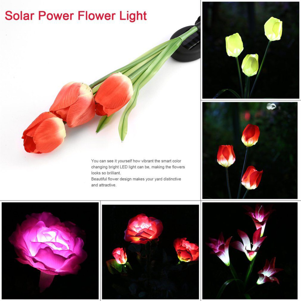3 Heads Tulip / Lily Simulation LED Solar Power Flower Light Waterproof Outdoor Led Lighting Garden Yard Lawn Decorative Lamp