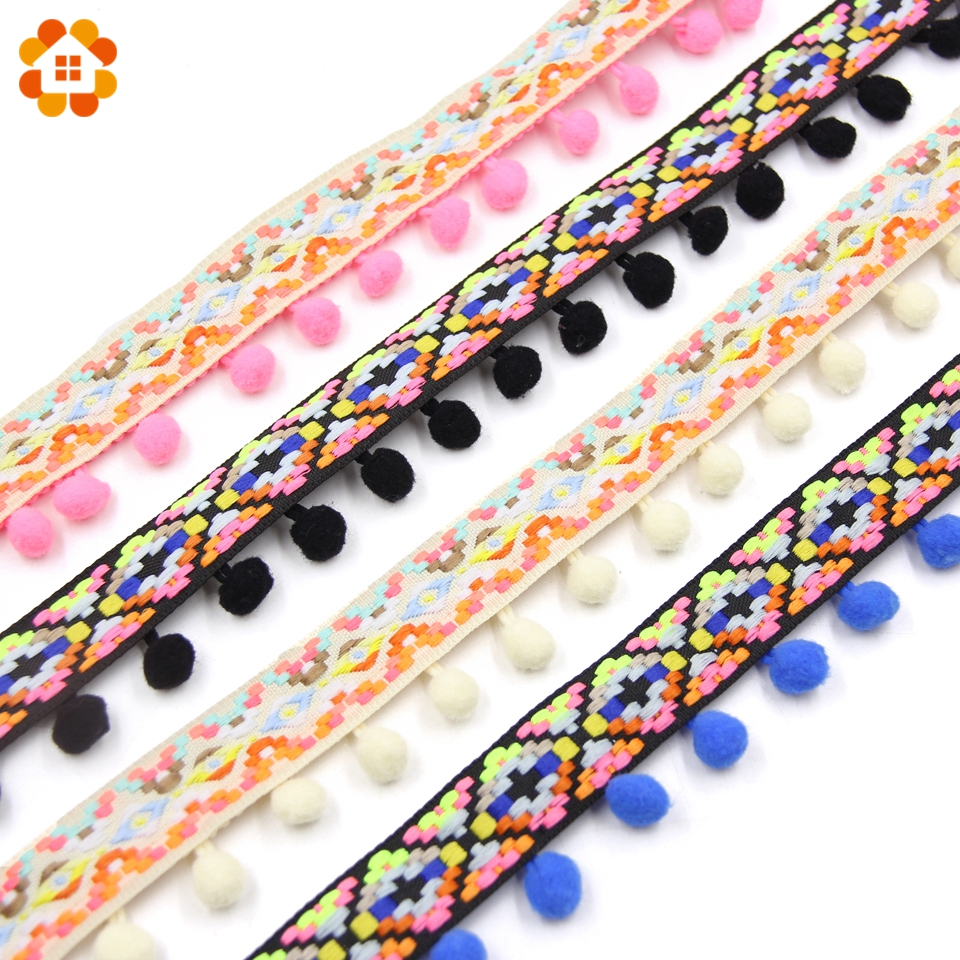 1 Yard Retro Rainbow Pom Pom Tassel Trim Ball Fringe Ribbon DIY Sewing Craft