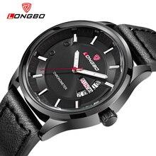 Moda Longbo marca militar reloj de cuarzo de la vendimia ocasional impermeable de lujo relojes correa de cuero de los hombres grandes del dial relogio masculino