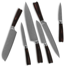 Kitchen knives six-piece set 7Cr17 stainless steel blade laser Damascus auspicious clouds veins color wood handle cooking tools