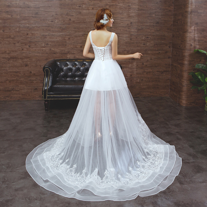 New Wedding Dress Short Front Long Back Organza Lace Beading ...