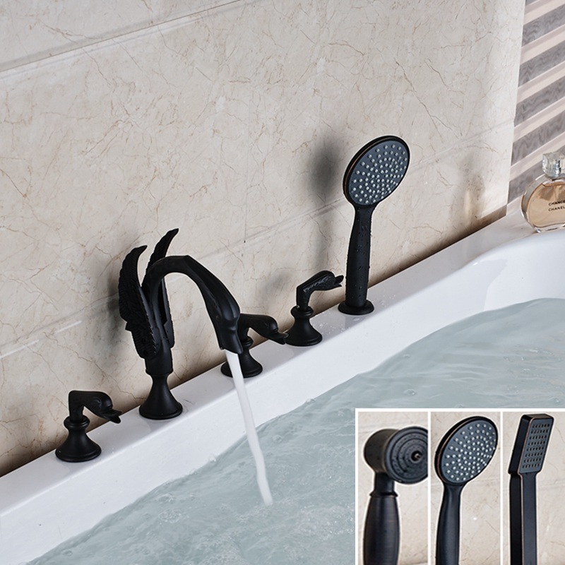 Luxury Oil Rubbed Bronze Swan Faucet Hand Shower Deck Mounted Tub Mixer Tap