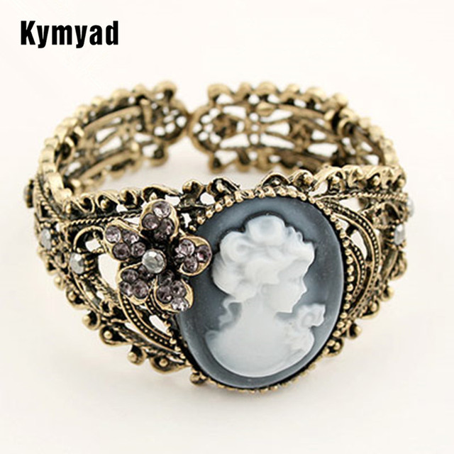Kymyad Bracelet Femme Vintage Cameo Carved Hollow Cuff Bracelets Bangles For Women Bijoux Crystal One Direction
