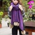 Thick winter woolen colorful Rabbit fur ball Scarf Women desigual shawl scarves foulard Free Shipping MF9856324