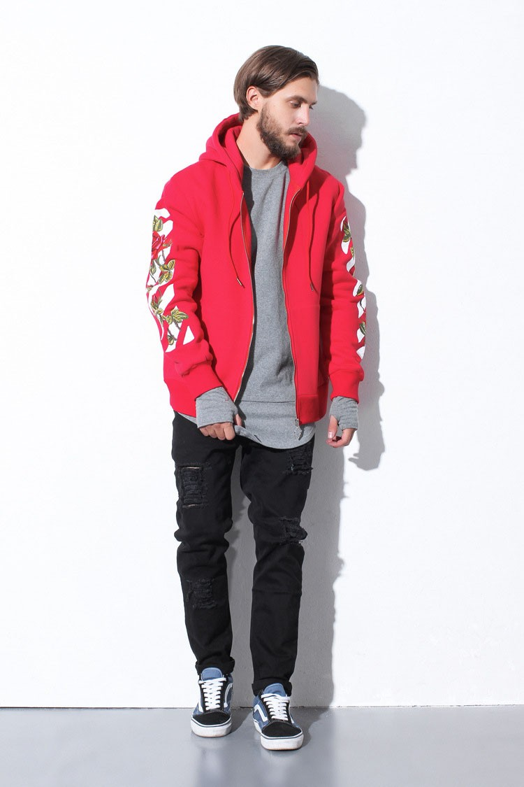 Aolamegs Men Hoodies Fashion Vintage Floral Embroidery Cardigan Jacket Hooded Zipper Outwear Off White Couples Red Black Hoodie (9)